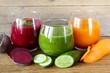Leinwandbild Motiv assorted fresh juices from fruits and vegetables