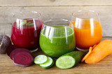 assorted fresh juices from fruits and vegetables poster