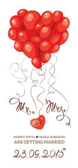 Wedding invitation -- heart made of balloons