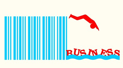 man silhouette jumping in business waves from barcode