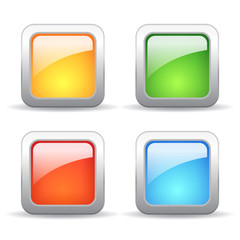 Square glass buttons