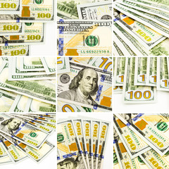 set of money images, new dollar banknotes collage and collection