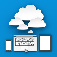 Smartphone, laptop and tablet connecting to cloud