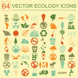 Environment, ecology icon set. Environmental risks, ecosystem poster