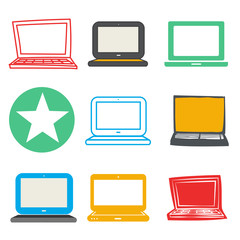 Laptop Computer Wireless Technology UI Icon Vector Concept