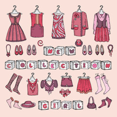 Vector illustration with girl's clothes for use in design
