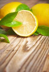 Lemons on a wooden background