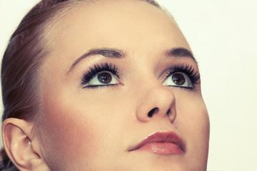 Closeup shot of woman eyes with makeup