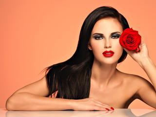 Beautiful woman with  bright fashion makeup