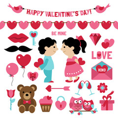 Valentine's day clip art set and elements for design