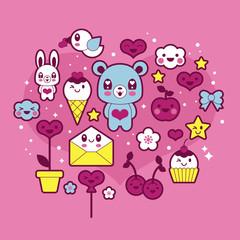 Valentine's day kawaii icons set