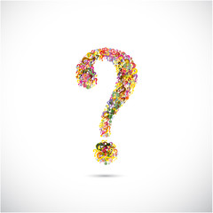 Colorful question mark symbol on background. Education or busine