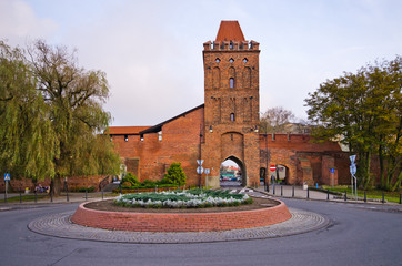 Gate in the ancient town walls of Olesnica, Poland