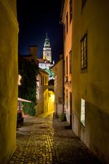 Narrow street during the night, Cesky Krumlov, Czech Republic