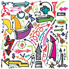 Hand draw Arrow set. Doodle vector