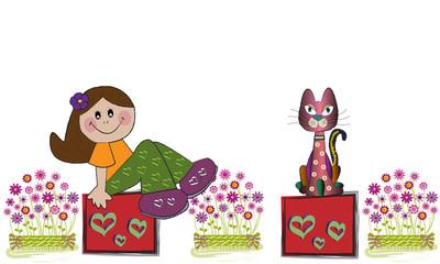 Niña, gato y flores.