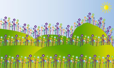 Campo con flores.