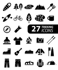 Set of flat monochromatic hiking, trekking and camping icons.