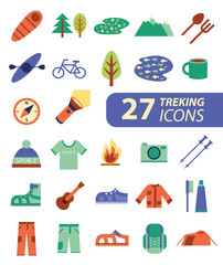 Set of flat colorful hiking, trekking and camping icons.