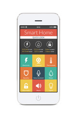 Front view of white smart phone with smart home application on t