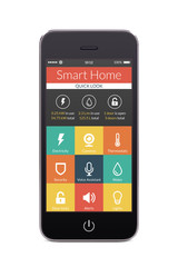 Front view of black smart phone with smart home application on t