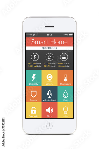 Front view of white smart phone with smart home application - 75922191