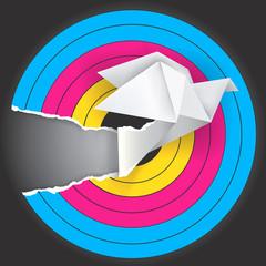 Target with origami bird