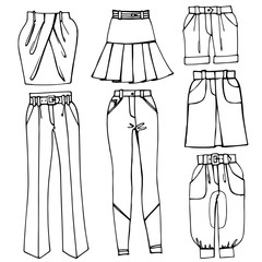 Outline Sketchy clothing.Females skirts,trousers set