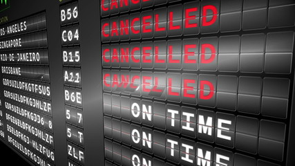Departures board for turning to cancelled