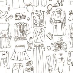 Outline Sketch.Females clothing ,accessories seamless pattern