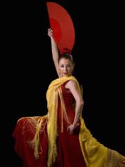 Spanish Woman, flamenco dancing, looking at the camera