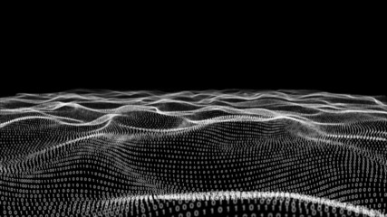 Abstract white technology landscape of binary code on black