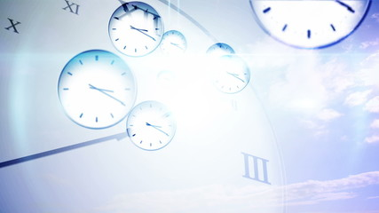 Time passing concept with many clocks