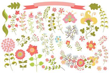 Vintage flowers elemments set.Flowers,branches,berries,leaves