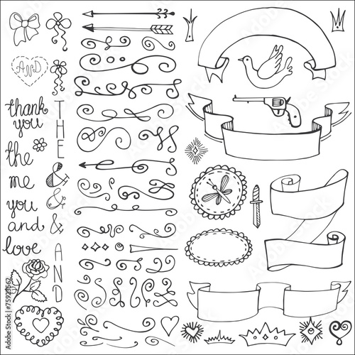 Poster Retro Doodles ribbons,badges,arrows,decor element.Love