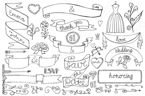 Retro Doodle bridal shower ribbons,border,decor elements set
