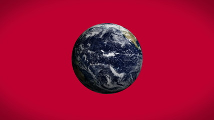 Earth spinning on red background