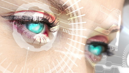 Eyes scanning a futuristic interface