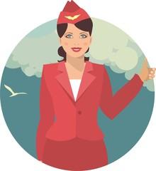 stewardess against the sky