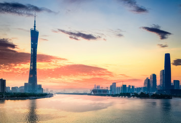 beautiful guangzhou in sunset