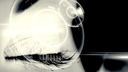 Eye scanning a futuristic interface