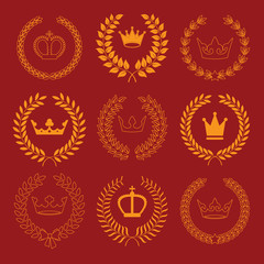 vector collection: laurel wreaths with crowns