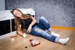 Unconscious depressed girl