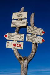 Tourist Signpost on Snezka-Krkonose,Czech Republic