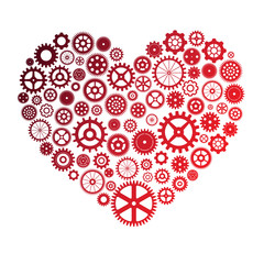 vector illustration of heart made of colorful cogwheels