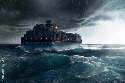 Cargo Ship in a Storm - 75925197