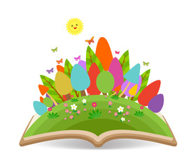 Spring with grass garden in the book