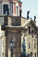 Saint Francis of Assisi church and Charles IV statue in Prague