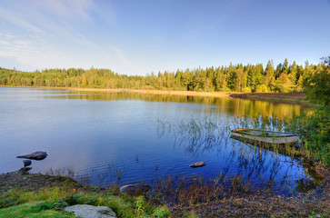 Idyllic autumn morning over Swedish lake