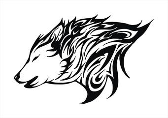 wolf fire flame head tattoo logo vector